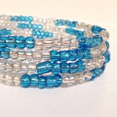 Frozen glass bead memory wire bracelet made at our 10 year old beading buds birthday party today.  #beadingbuds #glassbeads #kidsparties #kidsbirthday #girlsbirthdayparty #northyork