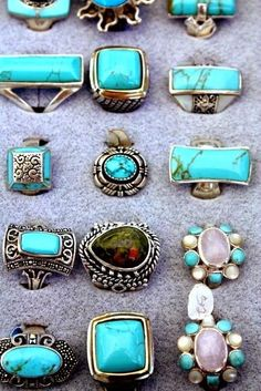 ☮ American Hippie Bohemian Boho Style ~ Jewelry .. Silver Turquoise Rings