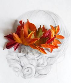 Fall leaves flower hair comb Bridal hair piece Rustic fall