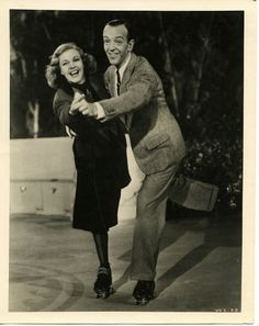 Ginger Rogers and Fred Astaire, dancing on roller skates for 'Shall We Dance,' 1937.