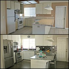 Mobile Home Kitchen Makeover Before and After Kitchen Paint Schemes, Kitchen Colour Schemes, Kitchen Corner Units, Kitchen Tips, Kitchen Ideas, Small Apartment Interior, Makeover Before And After, Moving House, White Kitchen Cabinets