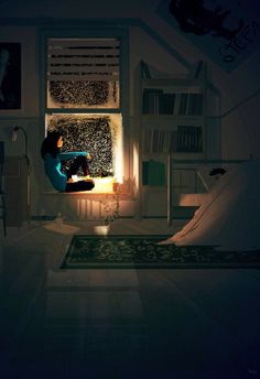 """- reblogged from Pascal Campion on Tumblr - """"Blackout.(2015) #pascalcampion Each time I am awake in the middle of the night, I hear that song… """"Hello darkness my old friend…."""" from the movie, The Graduate. """""""