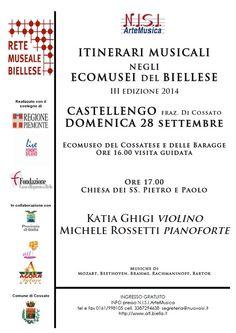 Castellengo 28 settembre - rassegna ITINERARI MUSICALI NEGLI ECOMUSEI DEL BIELLESE