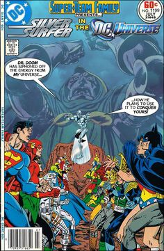 Super-Team Family: The Lost Issues!: Silver Surfer in the DC Universe Dc Comic Books, Comic Book Covers, Comic Book Heroes, Comic Art, Dc Comics Vs Marvel, Ace Comics, Marvel And Dc Crossover, Black Cat Marvel, Legion Of Superheroes