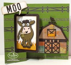 Karen Burniston May Designer Challenge Day 3 created by Frances Byrne using Barn Pop Stand Card; Hay There Pop Stand Card; Rectangle Pull Card; Rectangle Accordion Card; Brownie the Cow - designed by Karen Burniston for Elizabeth Craft Designs;  Alphabet 1 Caps - Elizabeth Craft Designs