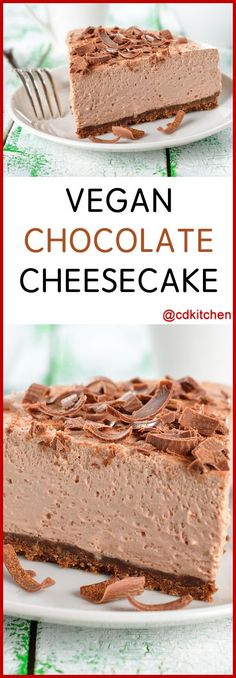 Vegan Chocolate Cheesecake - Recipe is made with vanilla extract, cocoa powder, graham cracker crust, soft tofu, chocolate soy milk, sugar | CDKitchen.com