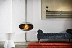 Chrome suspended biofuel fireplace| California Home + Design