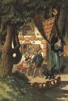 Hänsel & Gretel 3. von 6 Faksimiles Hexenhaus von O. Kübel Rarität Märchen 5c - Billerantik