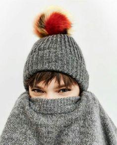 Zara knit beanie with pom pom