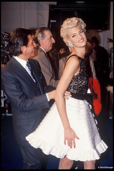 Linda Evangelista and Valentino Garavani 1991.