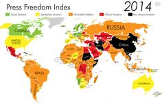 These maps show the best and worst countries for journalists, and how much has changed in recent years