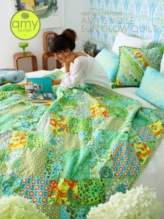 Amy Butler's newest free patterns are now available online!  The first design is her Voile Sun Glow Quilt with a rich glow of colors and a coordinating Sun Glow Pillow to make along with this quilt or as a quick project on its own.