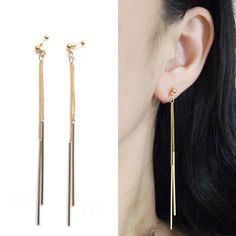Dangle Bar Invisible Clip On Earrings Dangle Gold by MiyabiGrace