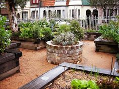 love the raised beds with a nice ledge and notched corners. i also love how the circular garden is a contrast to the weathered rectangular gardens