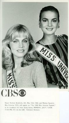 1980 CBS Miss Universe Pageant Ad featuring Miss USA 1980 Shawn Weatherly (winner Miss Universe 1980), and Miss Universe 1979 Maritza Sayalero
