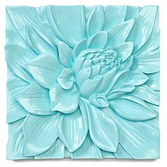 Lotus Flower Plaque - Aquamarine - modern - artwork - Z Gallerie Art Nouveau Tiles, Art Deco, Tiffany Blue, Flower Wall, Lotus Flower, Pop Art Bilder, Turquoise Tile, 3d Studio, Clay Tiles