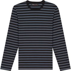 T-shirt rayé noir fonte Tweed, T Shirt, Long Sleeve, Sleeves, Sweaters, Mens Tops, Fashion, Grey, Stripes