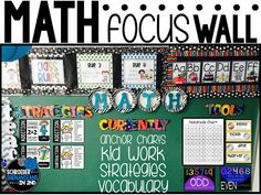 A simple way, yet functional way to organize and display your math focus wall in your classroom by strategies, what you're currently teaching which is where you can add anchor charts and vocabulary from the week, and a section for you to hang tools that your students can refer to all year long!
