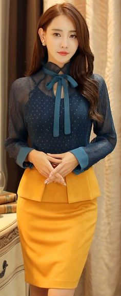 StyleOnme_Pleated Top Belted Pencil Skirt #yellow #teal #pencilskirt #feminine #autumnlook #koreanfashion #formal #colorful #kstyle