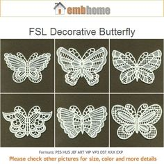 FSL Decorative Butterfly Free Standing Lace Machine Embroidery Designs Instant Download 4x4 hoop 10 designs APE1630