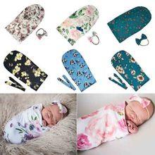 Baby Blankets Printed Newborn Sleeping Swaddle Muslin Wrap Headband Photo Prop