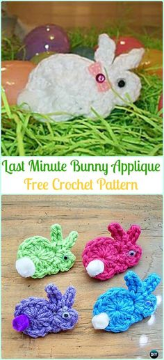 Crochet Last Minute Bunny Applique Free Pattern-Crochet Bunny Applique Free Patterns