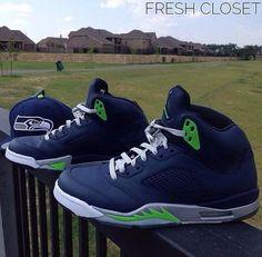 Seattle Seahawks Custom Air Jordan 5 by @fresh_closet