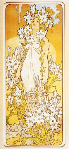 Page: Lily    Artist: Alphonse Mucha    Style: Art Nouveau (Modern)    Genre: allegorical painting    Tags: flowers-and-plants, female-portraits