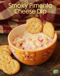 Get into the country spirit with this southern-style smoked pimento dip. Recipe: Layer one diced red pepper, a drizzle of olive oil, salt + pepper on a baking sheet; Bake for 45 minutes at 350 degrees; Mix with 1 jar diced pimento, 1 cup of cheddar cheese, 1 cup of Mayonnaise + 1 pinch of Cayenne Pepper; Serve at room temperature