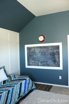 "Loving the paneled wall and the paint color (Behr ""Underwater""). Maybe for the bonus room? It has the same sloped ceilings. Chalkboard Wall Bedroom, Room Colors, Paint Colors, Man Room, Playroom Paint Colors, Room Paint, Room Makeover, Room, Boy Room Paint"