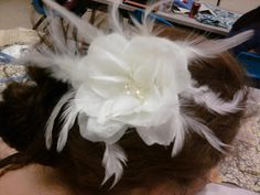 white wedding hair piece