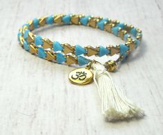 Beaded Bracelet  Teal Beaded Bracelet  Double by SKBeadedJewelry  #beadbracelet #tealbracelet #dublewrap