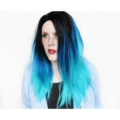 Lace Front Wig Blue Wig Gradient Blue Wig Ombre Wig Scene Emo Wig Blue... ($110) ❤ liked on Polyvore featuring beauty products, haircare, hair styling tools, bath & beauty, grey, hair care, wigs, flat iron, styling iron and straight iron