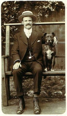 h b by janwillemsen, via Flickr. Vintage photo, dog and man.