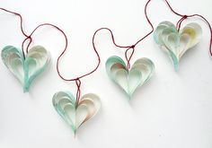 Pale Mint Blue Home Decorations Paper Hearts Easter Decor Summer Nautical Garland on Etsy, € Vintage Maps, Decor Vintage, Heart Decorations, Paper Decorations, Heart Garland, Paper Artwork, Easter Crafts, Easter Decor, Kids Crafts
