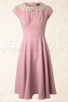 Bunny - 40s Emilie Dress in Baby Pink Abito Degli Anni 40 53c284179a5