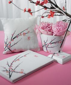 Cherry Blossom Ceremony Accessories from Wedding Favors Unlimited. Cherry blossoms range in color from pure white to deep pink. They are a beautifully fragrant flower and carry symbolic meaning in many cultures. The Japanese cherry blossom. Wedding Themes, Wedding Signs, Diy Wedding, Wedding Decorations, Wedding Ceremony, Wedding Ideas, Summer Wedding, Lilac Wedding, Spring Weddings