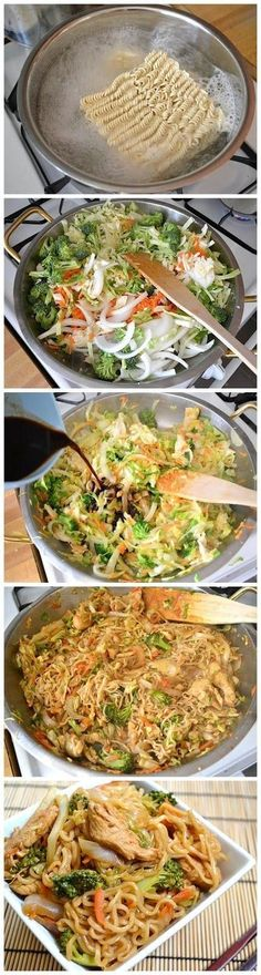 Chicken Yakisoba - cabbage, onion, carrots, broccoli, chicken, ramen noodles, seasonings, soy sauce, worcestershire and hot sauce.