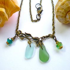 Sea Glass Necklace Branch Leaf Antique Brass by SurfSeaGlass,