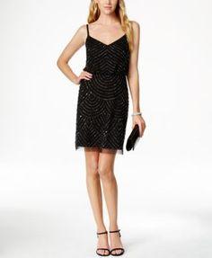 Adrianna Papell Beaded Blouson Dress | macys.com