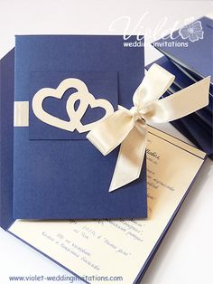 """Love Hearts"" Wedding Invitation, Violet Handmade Wedding Invitations"
