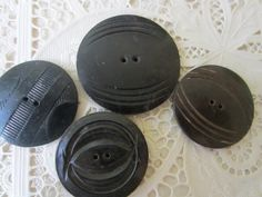 Vintage Buttons 4 extra large  assorted dark by pillowtalkswf, $3.95