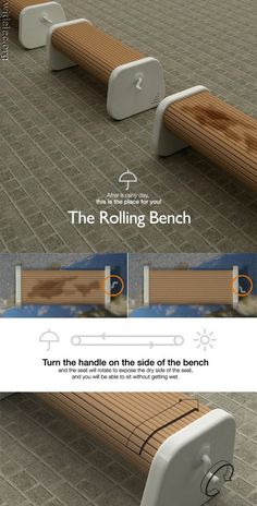 Tired of sitting on a wet bench? Dont want that soggy-ass feeling on your morning commute? Or maybe you just need a dry place to sleep? Well the rolly wet bench is the answer to your prayers.