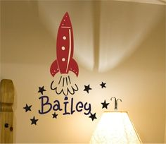 Bailey's Rocket Wall Decal by Alphabet Garden Designs, Wall Stickers,Personalized Art, Art for Boys