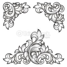 Baroque leaf frame swirl decorative design element set. Floral engraving, fashion pattern motif, vector illustration