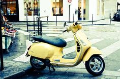 Paris Photography, yellow vespa on the streets of Paris, Marais in Paris, yellow wall art, paris print, Paris in the Rain