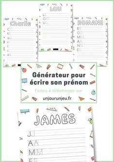 Pour tous les enfants qui souhaitent apprendre à écrire leur prénom, voici un générateur qui va vous permettre de créer une fiche rien que pour eux ! Pratique aussi pour tous les professeurs des écoles, particulièrement
