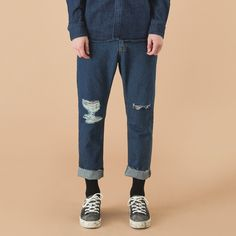 15 f/w denim damage pants denim jean
