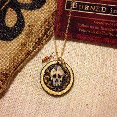 BurnedinBrooklyn birch wood Jewelry custom designed Skull pendant with Swarovski Crystal. https://www.etsy.com/shop/BurnedinBrooklyn