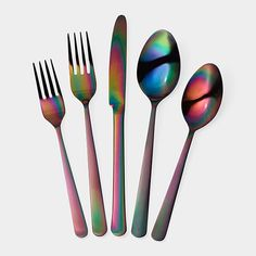 We've noticed a new trend in kitchen goods popping up lately: metallic rainbow. If you're in the market for some new, unique flatware: this might be the best of the kitchen trends for you!